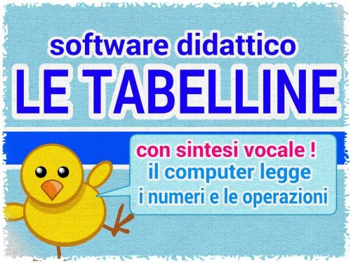 Matematica: Tabelline, app per windows con sintesi vocale.